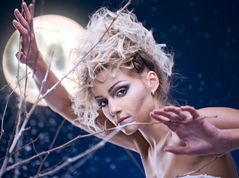 Beauty Woman  Under Moon Royalty Free Stock Images