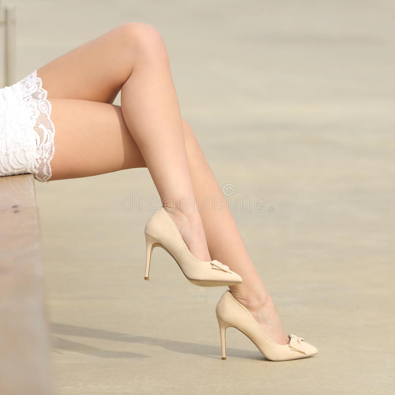 Beauty woman waxed legs hair removal concept stock photography