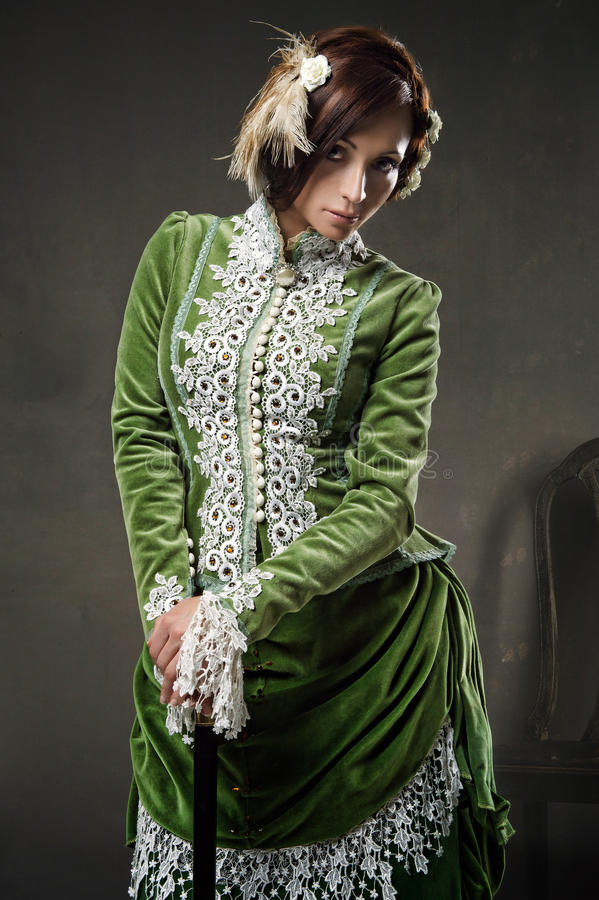 Beauty woman wearing old dress stock images