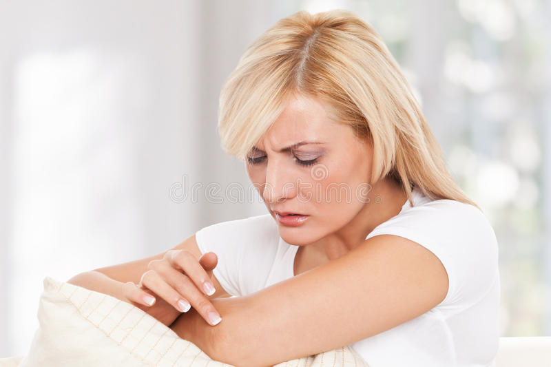 Beauty woman worrying about her skin royalty free stock photo