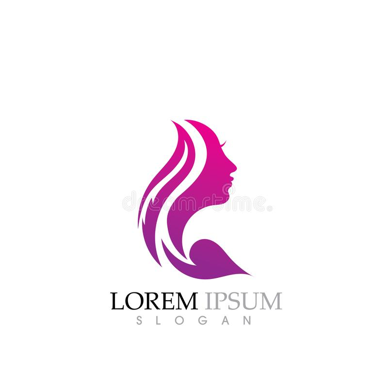 Beauty Women face silhouette character Logo. Template body clinic elegant glamour care woman logotype female fashion icon makeup sign spa hair beautiful symbol vector illustration