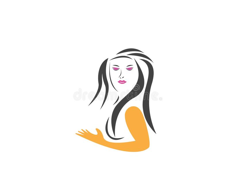 Beauty Women face silhouette character Logo Template.  royalty free illustration