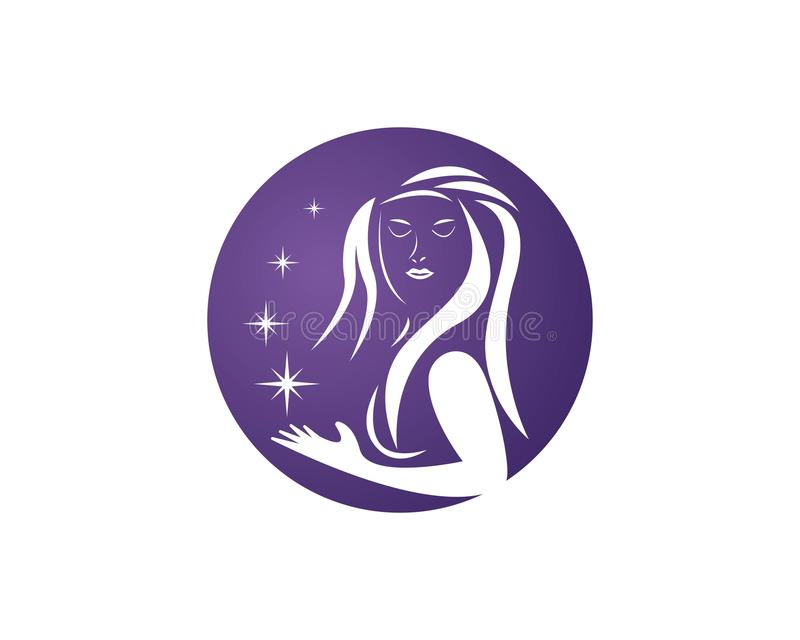 Beauty Women face silhouette character Logo Template.  stock illustration