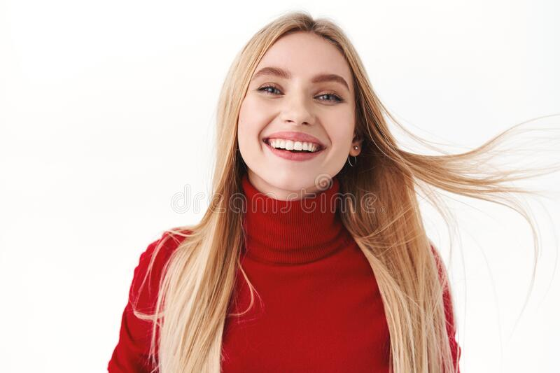 Beauty, women and fashion concept. Close-up portrait of beautiful, romantic caucasian woman with blonde long hair stock photography