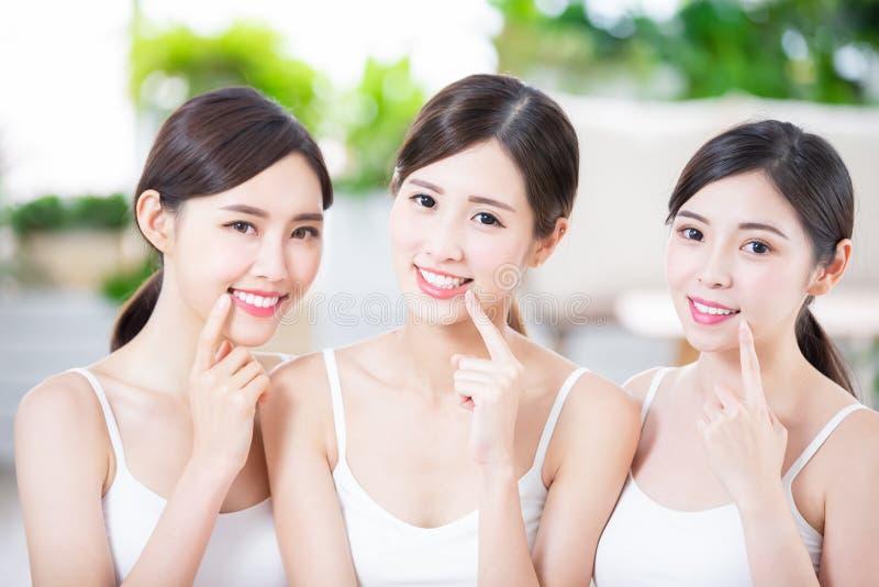 Beauty women smile happily stock photos