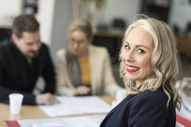 Beauty woman woking happy at office stock photos
