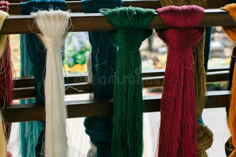 The beauty of yarn before weaving. stock images
