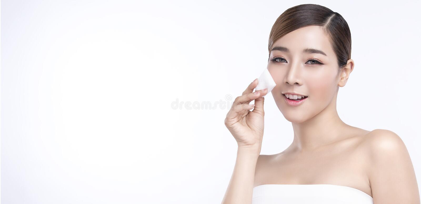 Beauty Young Asian Woman With Perfect Facial Skin Gestures For Advertisement Treatment Spa And Cosmetology On White Banner Stock Image Image Of Fresh Eyes 161800251