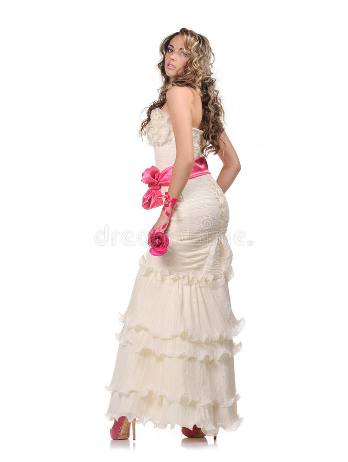 Beauty young bride with rose stock photography