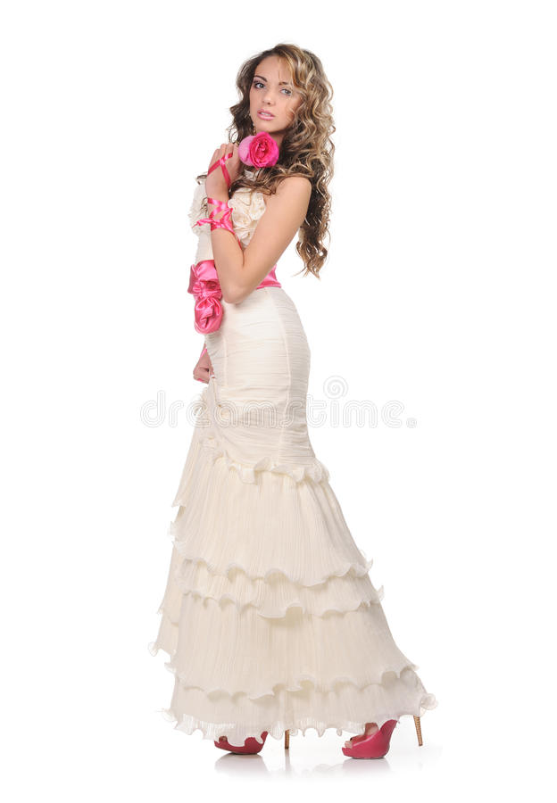 Beauty young bride with rose stock images