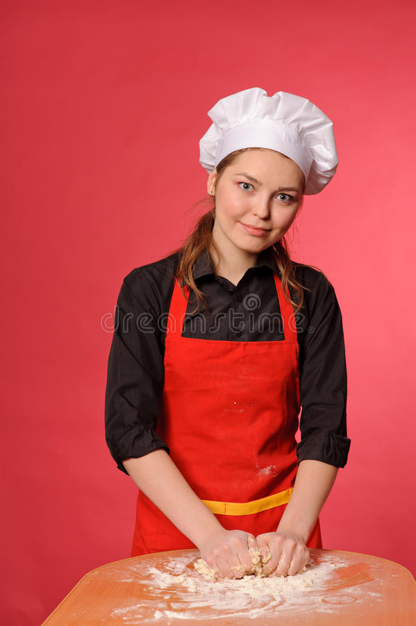 Download Beauty young cook stock photo. Image of bread, cook, flour - 25509702