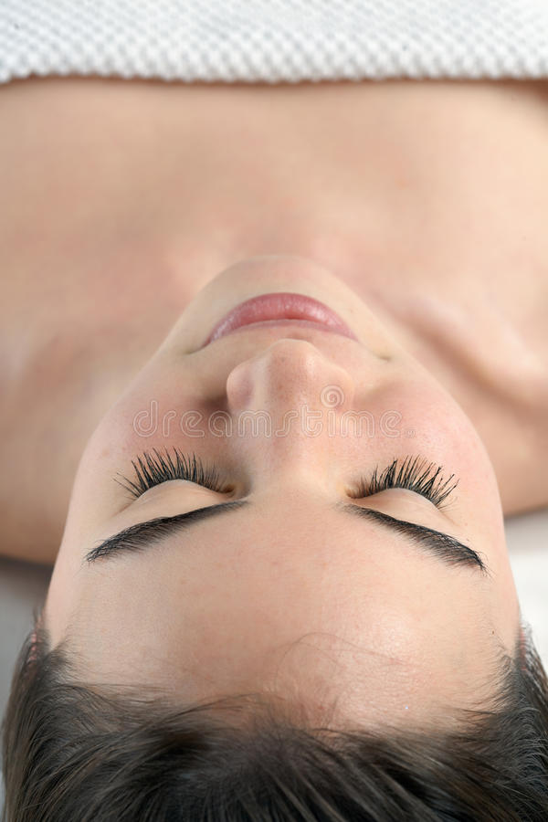 Beauty young girl day spa stock image