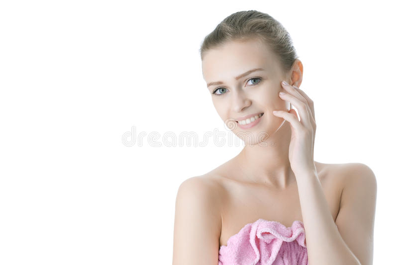 Beauty young girl day spa. On white background royalty free stock images