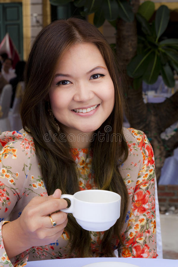 Beauty Young Girl Drink Coffee Royalty Free Stock Photography