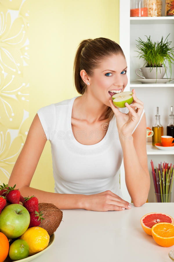 Free Beauty, Young Girl Eating Apple Stock Photography - 16829292