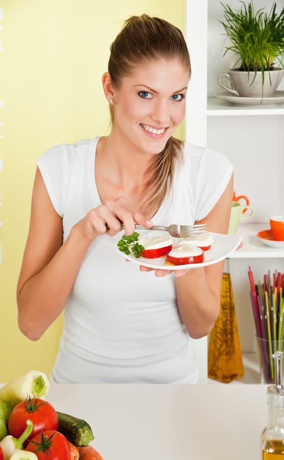 Download Beauty, Young Girl Eating Mozzarella Salad Stock Image - Image: 14808725