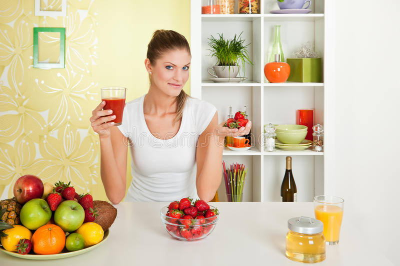 Download Beauty, Young Girl Holding Fruit Juice And Strawbe Stock Photo - Image: 16829134