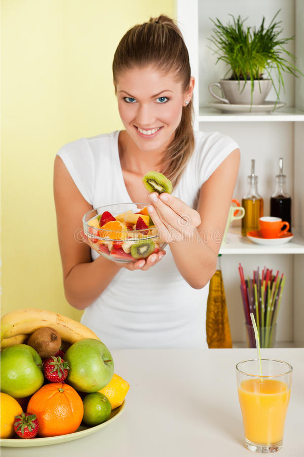 Download Beauty, Young Girl Holding Fruit Salad Royalty Free Stock Photos - Image: 16829168