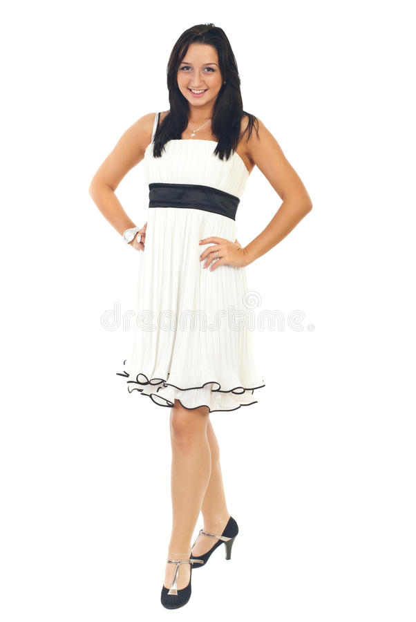 Beauty young model in white dress stock photo