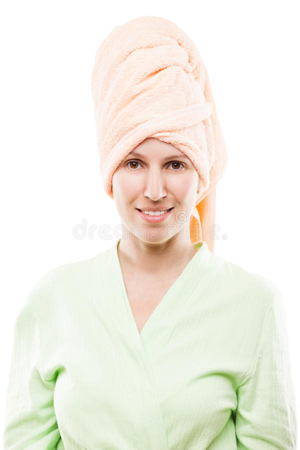 Beauty young smiling woman in bathrobe and curled spa towel on h. Body treatment and healthy lifestyle - beauty young smiling woman in bathrobe and curled spa stock photo