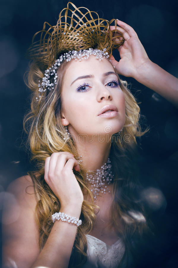 Beauty young snow queen in fairy flashes. Crown on her head stock photo