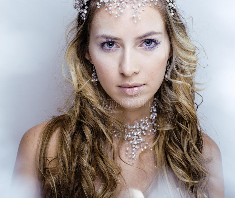 Beauty young snow queen in fairy flashes. Crown on her head royalty free stock photos