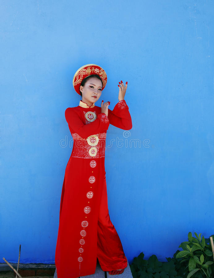 Beauty young vietnamese woman in red national royalty free stock photos