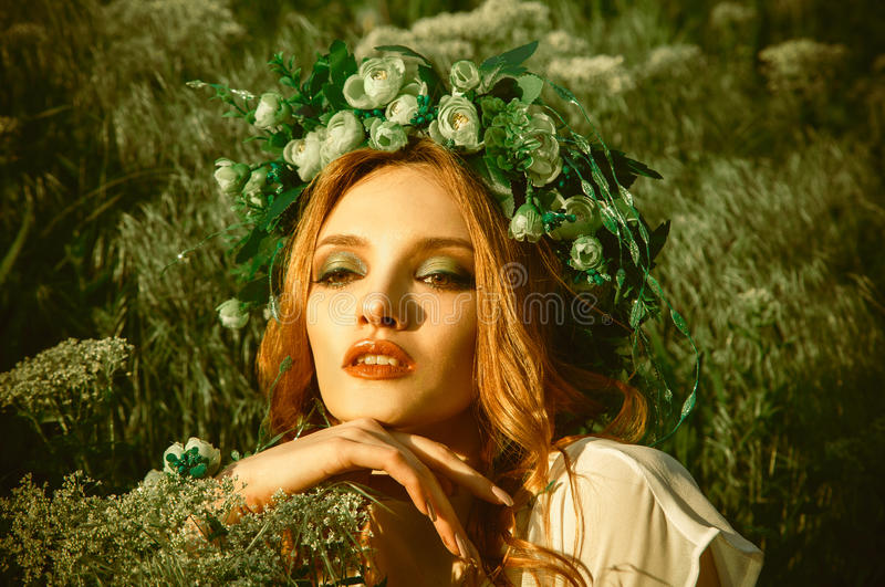 Beauty young woman with nice makeup and wreath on head stock photos