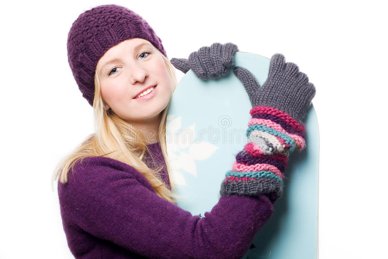 Beauty young woman with snowboard. (isolated royalty free stock photos