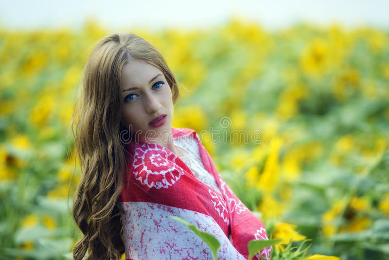 Download Beauty Young Woman In Sunflower Field Stock Image - Image: 32354813