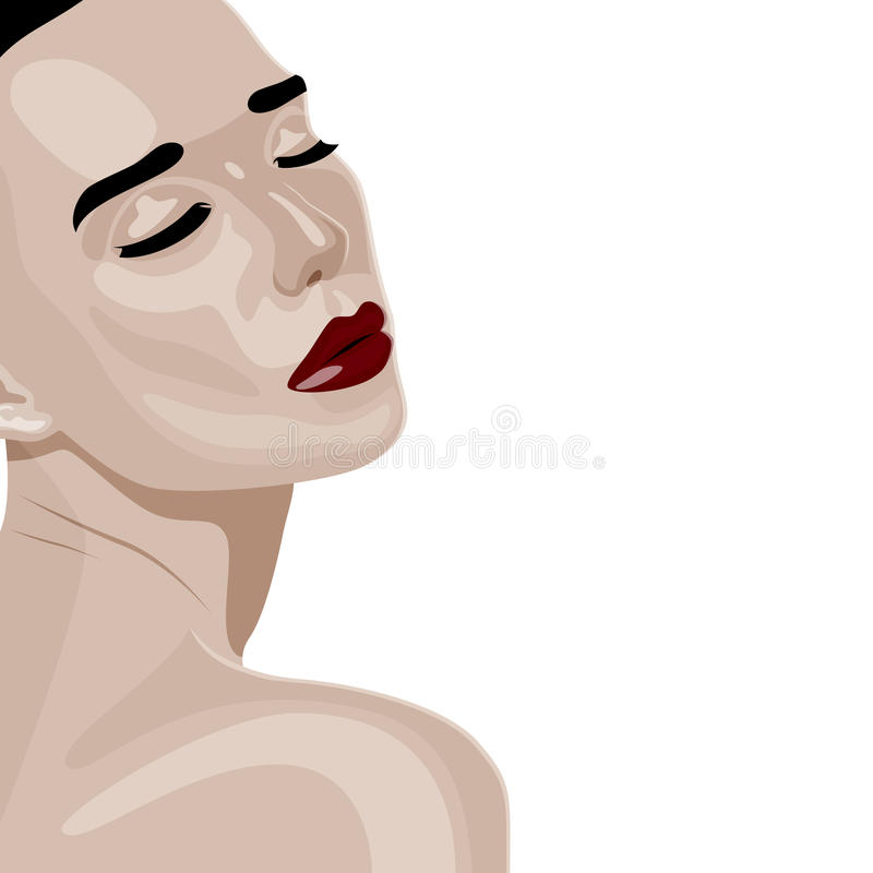 Beauty young Woman turned over her shoulder. Beauty young Woman with dark red Lips and closed Eyes turned over her shoulder. Colorful vector fashion Illustration stock illustration