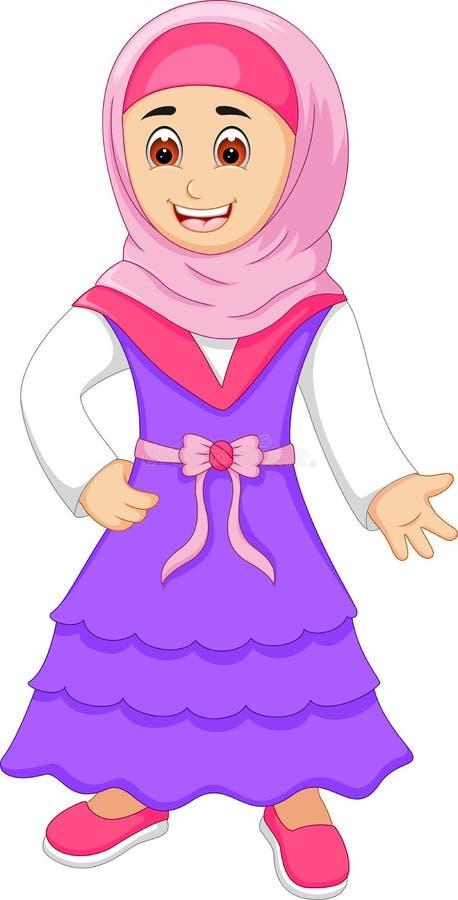 Beautyb kobiet kreskówki islamska pozycja z uśmiechem i falowaniem royalty ilustracja