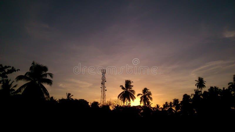 Beautyful日落在斯里兰卡 库存图片