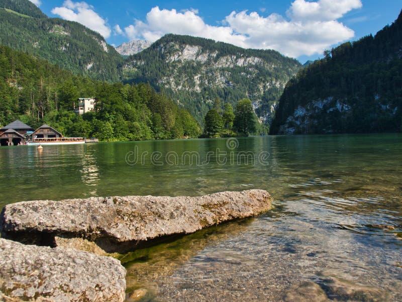 Beautyful湖在巴伐利亚叫克尼格塞 库存照片