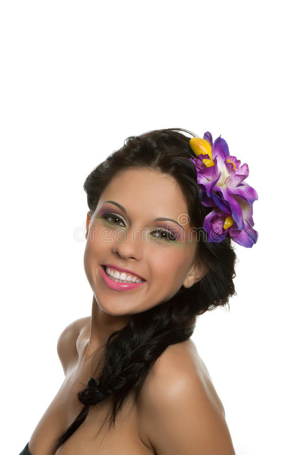 beautyful blommakvinna royaltyfri foto