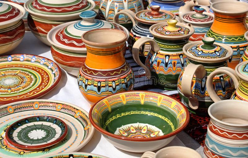 Beautyful clay kitchenware stock images