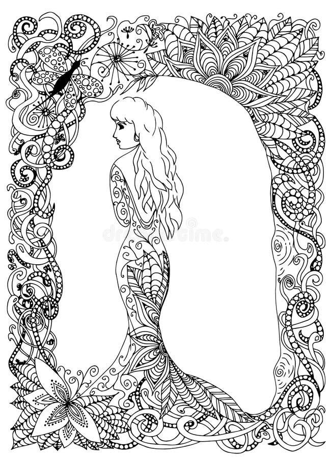 Download Beautyful Girl Princess Long Dress Vector Illustration Doodle Drawing Meditative