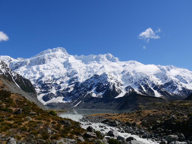Mountain during walk to Mt.cook stock images
