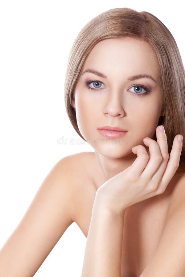 Beautyful woman face with hand stock photos
