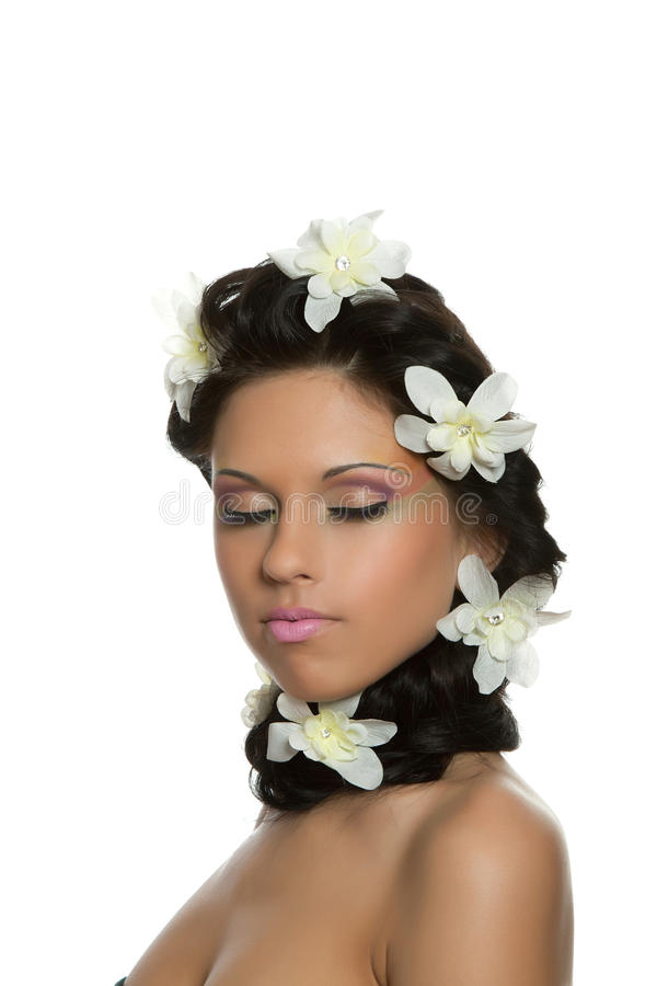 Beautyful Woman With Flower Royalty Free Stock Photo