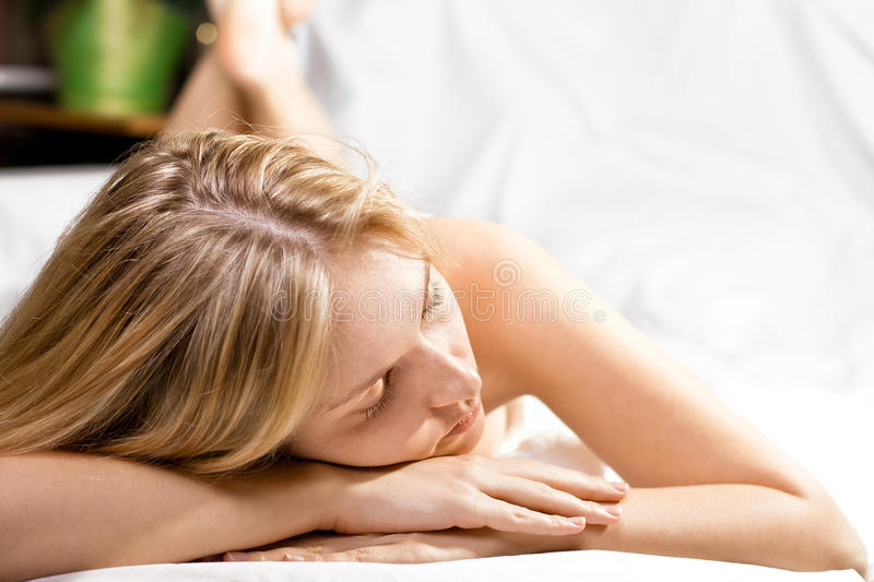 Beautyful woman in spa stock images
