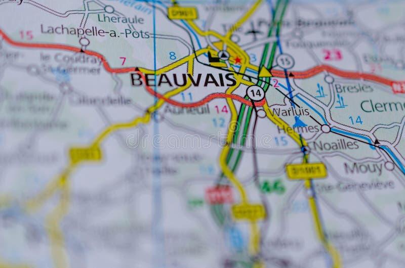 Beauvais na mapie zdjęcia royalty free