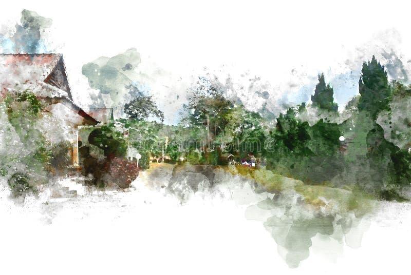 Beaux arbre et champ abstraits sur le fond coloré de peinture d'aquarelle illustration stock