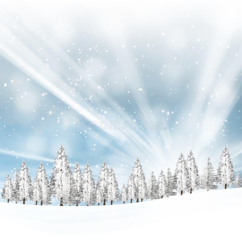 Beaux arbres neigeux de paysage d'hiver images libres de droits