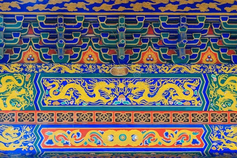 Beaux architecture et art de la peinture de mur avec le patt de dragon photos stock
