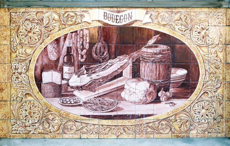 Beaux azulejos d'un restaurant à Séville images libres de droits