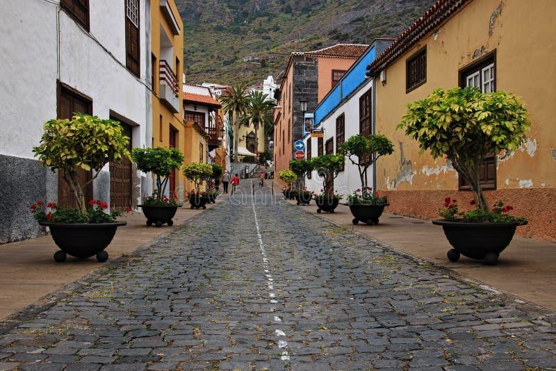 Beaux bâtiments dans une rue à Puerto de la Cruz en Îles Canaries de Ténérife, Espagne, l'Europe photographie stock