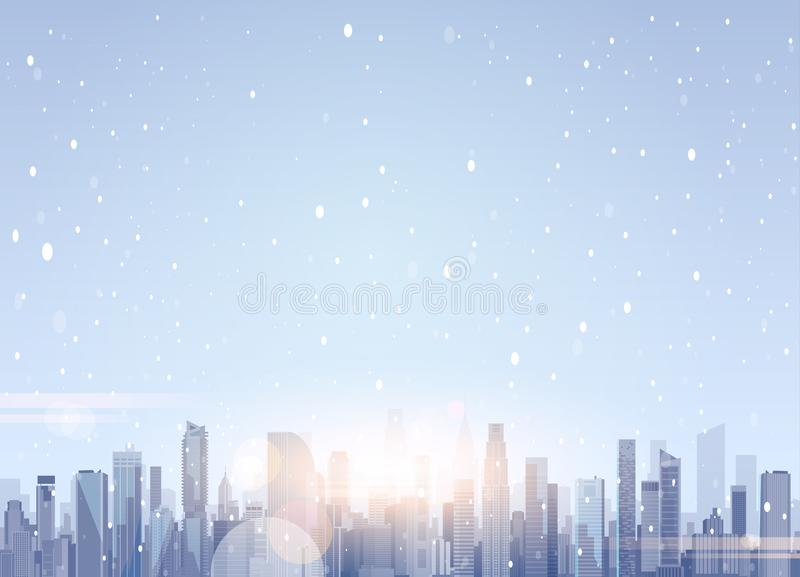 Beaux bâtiments de gratte-ciel de paysage de ville d'hiver à l'arrière-plan de Joyeux Noël et de bonne année de neige illustration de vecteur