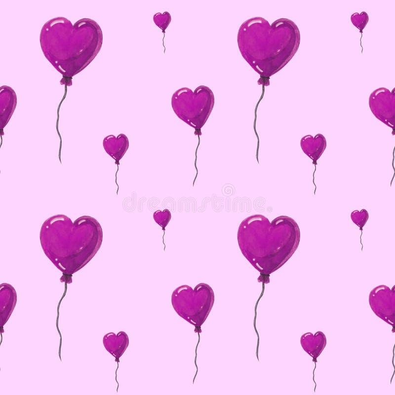 Beaux ballons à air sous la forme de coeurs, modèle sans couture d'aquarelle sur le fond blanc Peut être employé pour la carte de illustration stock