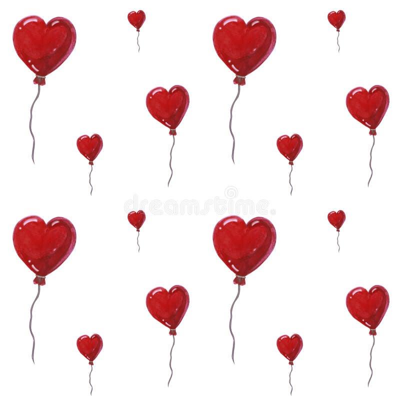 Beaux ballons à air sous la forme de coeurs, modèle sans couture d'aquarelle sur le fond blanc Peut être employé pour la carte de illustration de vecteur